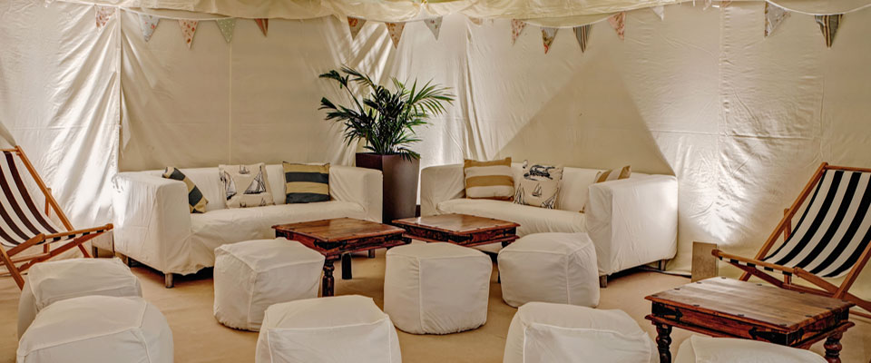 Complete Chillout Beach Hut Themed Party Marquee With